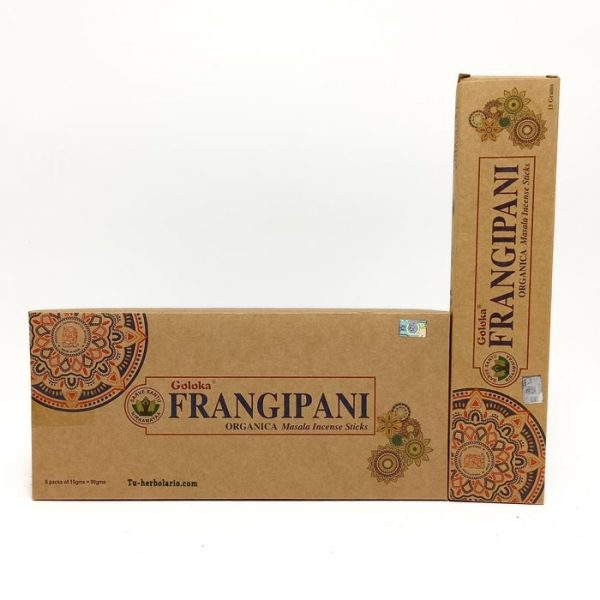 Incienso Goloka. Orgánico Frangipani