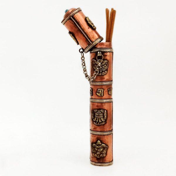 Porta-inciensos Tibetano de cobre y latón